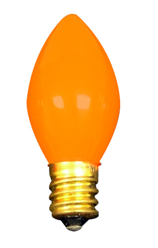 a light bulb tapered opaque orange 042 up