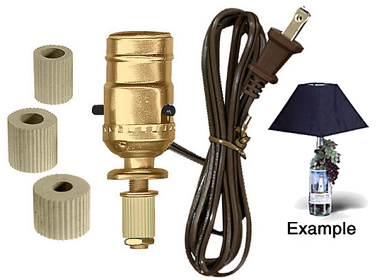 Lamp making kits with medium edison style sockets national artcraft j bottle lamp kit greentooth Image collections