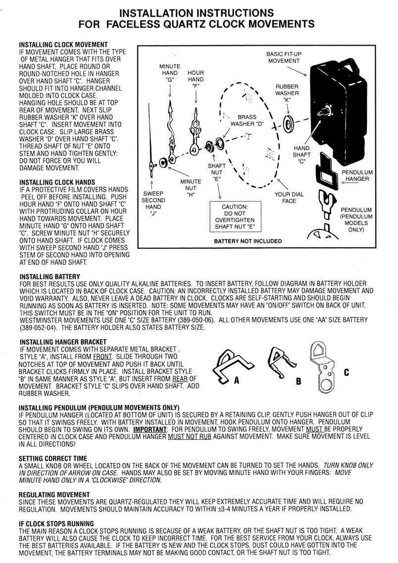 Quartz Clock Movements And Hands For Large Dials